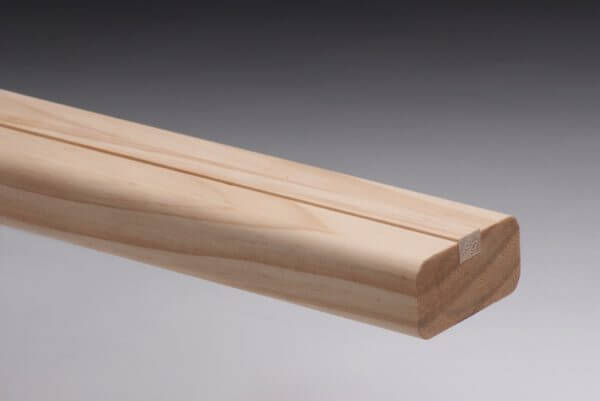 Pine Stair Flight Shoe Rail with 12mm rebate and fillet