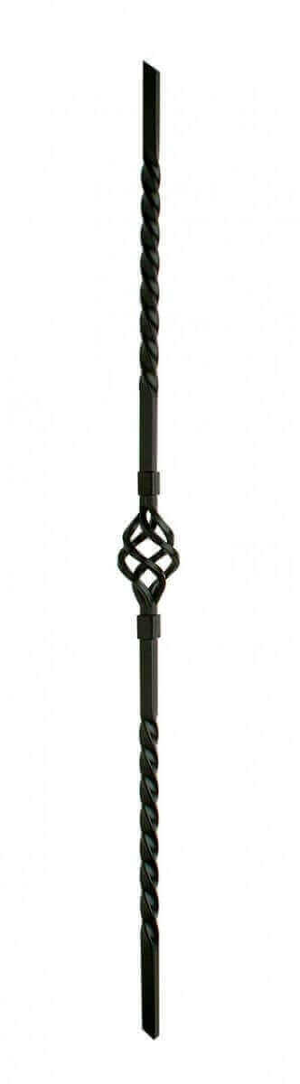 Twist with Basket Black Metal Stair Flight Baluster